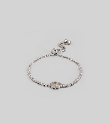 Silver Cubic Zirconia Toggle Bracelet New Look