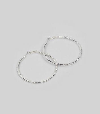 Silver Textured Hoop Earrings New Look