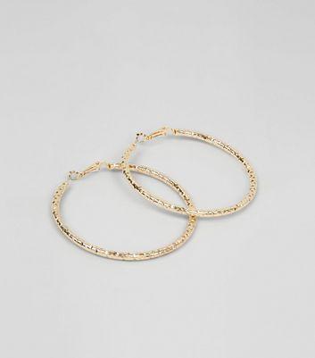 Gold Textured Hoop Earrings New Look