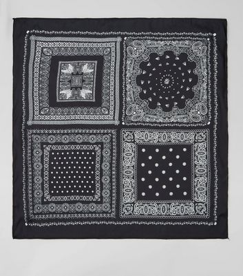 Black Satin Patchwork Print Bandana New Look