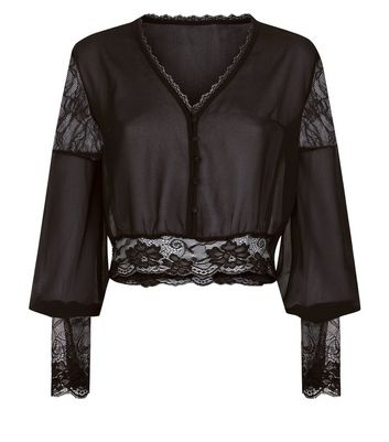 Pink Vanilla Black Lace Trim Blouse New Look