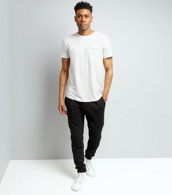 Pale Grey Pocket Front Curved Hem T-Shirt New Look