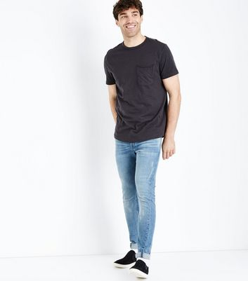 Dark Grey Pocket Front Curved Hem T-Shirt New Look