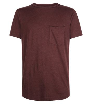 Brown Pocket Front Curved Hem T-Shirt New Look