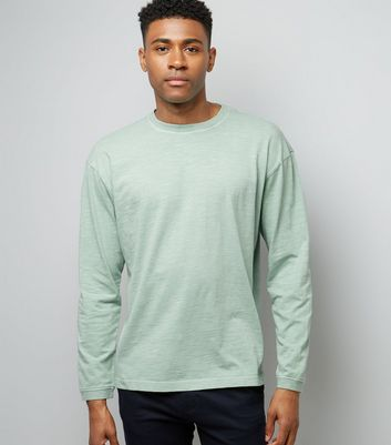 Mint Green Long Sleeve Cuff T-Shirt New Look