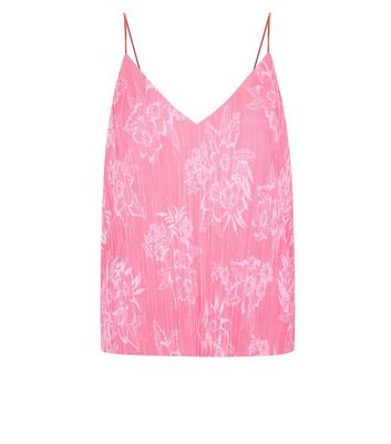 Pink Plisse Floral Cami Top New Look