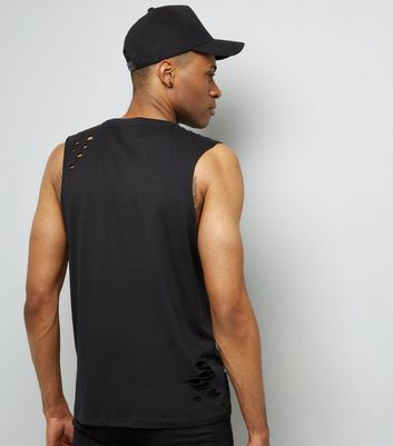 Black Ripped Tank Top New Look