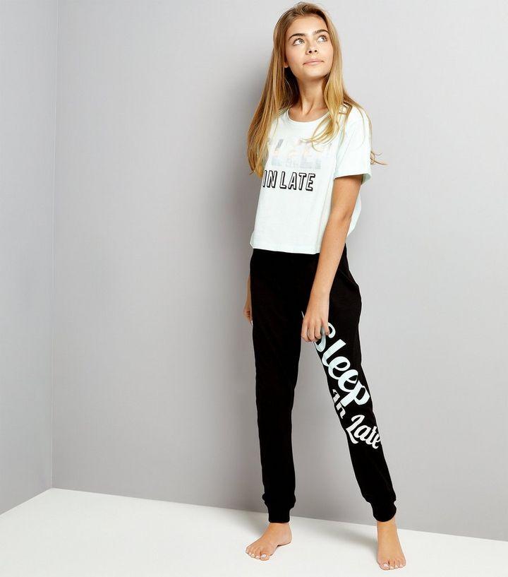 8fea50c23762 Teens Mint Green Slogan Print T-Shirt And Joggers Set