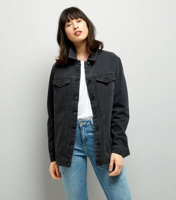 JDY Black Oversize Denim Jacket New Look