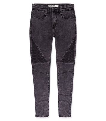 Black Acid Wash Skinny Biker Jeans New Look