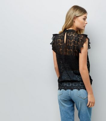 JDY Black Floral Lace Frill Sleeve Top New Look
