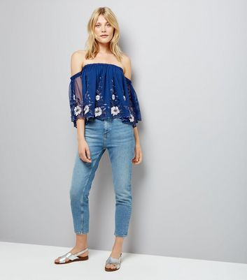 Blue Mesh Floral Embroidered Bardot Neck Top New Look