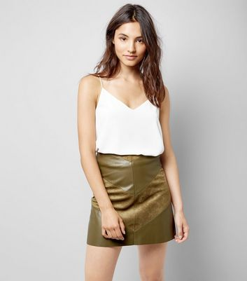 JDY Khaki Leather Look Chevron Mini Skirt New Look