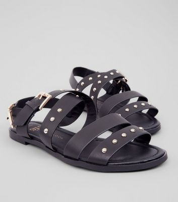 Teens Black Stud Gladiator Sandals New Look