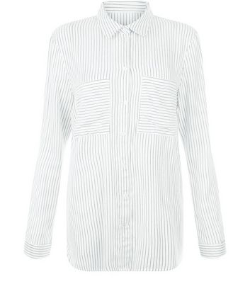 JDY White Stripe Double Pocket Front Shirt New Look