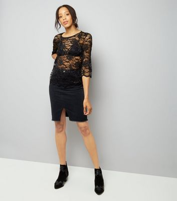 JDY Black Lace 3/4 Sleeve Top New Look
