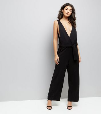 JDY Black Tie Waist Jumpsuit New Look