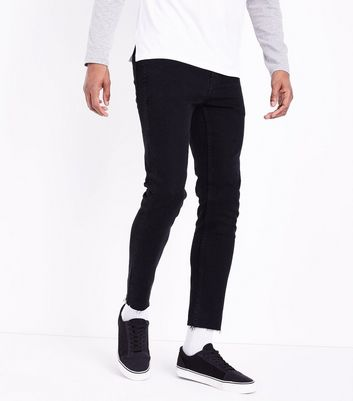 Black Raw Hem Skinny Jeans New Look