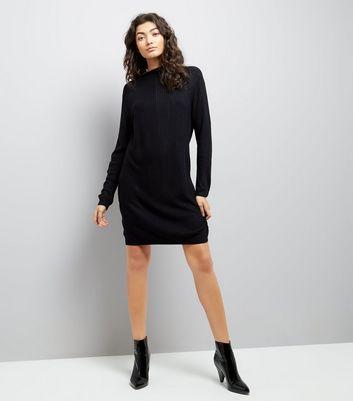 JDY Black Ribbed Jumper Dress New Look