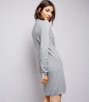 JDY Grey Ribbed Jumper Dress New Look
