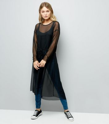 JDY Black Mesh Tie Waist Dress New Look