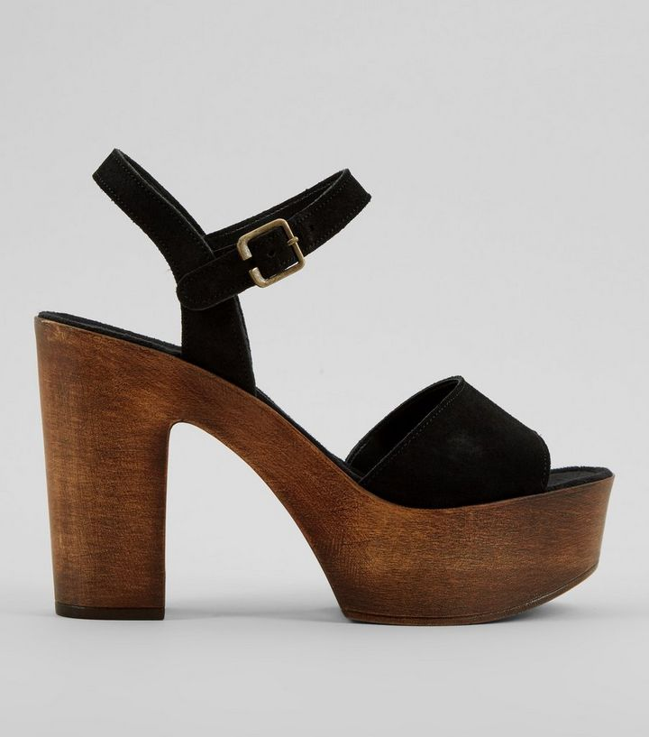 Black Suede Wooden Block Heeled Sandals Add To Saved Items Remove From Saved Items