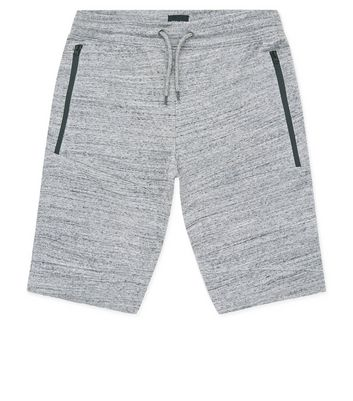 Mid Grey Textured Longline Shorts New Look
