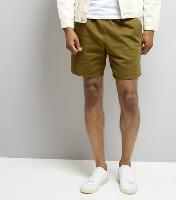 Khaki Acid Wash Drawstring Shorts New Look