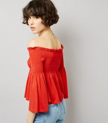 Red Shirred Bardot Neck Top New Look