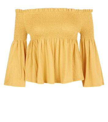 Yellow Shirred Bell Sleeve Bardot Neck Top New Look