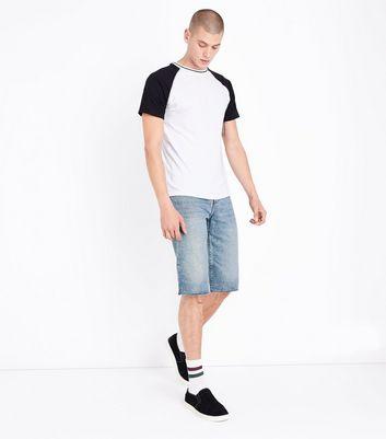Pale Blue Raw Hem Denim Shorts New Look