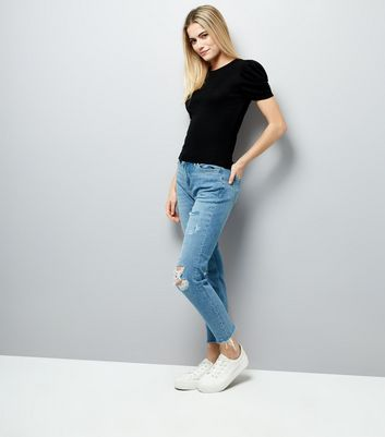 Black Ruched Sleeve T-Shirt New Look