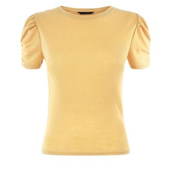 Yellow Ruched Sleeve T-Shirt New Look