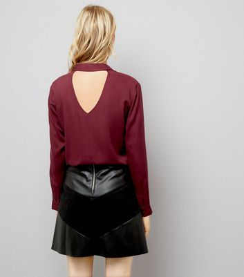 JDY Burgundy Open Back Shirt New Look
