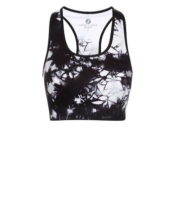 Black Tie Dye Seamless Sports Crop Top New Look