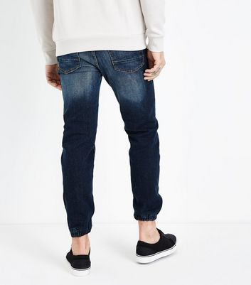 Navy Ripped Knee Joggers Jeans New Look