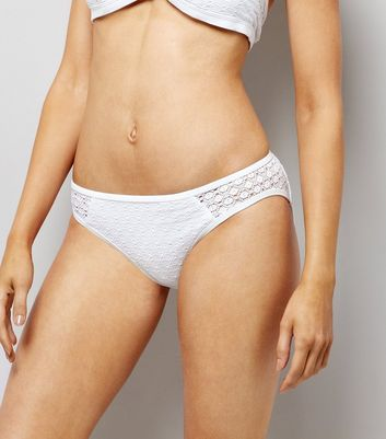 White Crochet Bikini Bottoms New Look