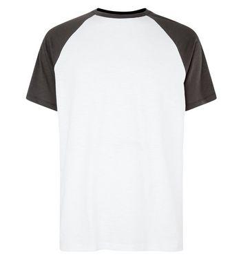Dark Grey Raglan Short Sleeve T-Shirt New Look