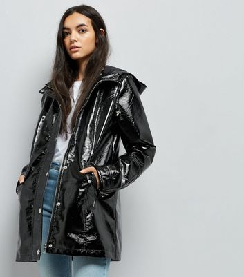 Tall Black Patent Anorak New Look