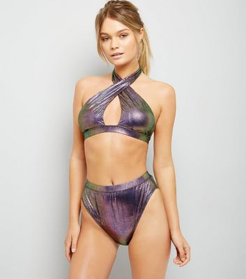 Purple Snakeskin Texture Bikini Top New Look
