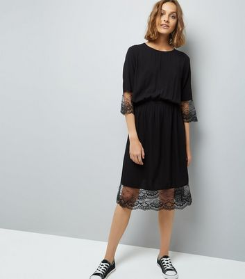 JDY Black Lace 3/4 Sleeve Dress New Look