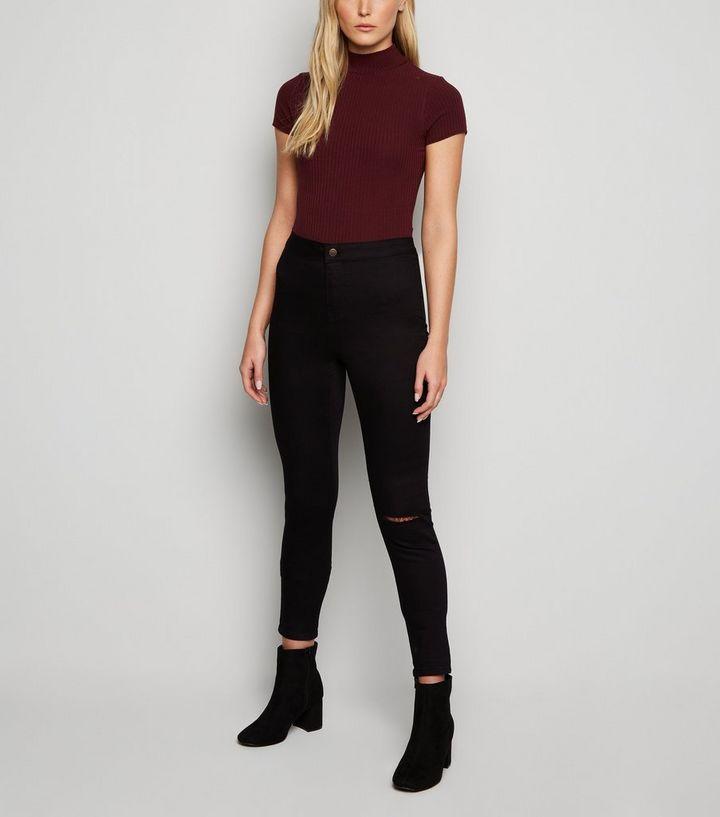592e0578162 Tall Black Ripped Knee High Waist Super Skinny Jeans | New Look