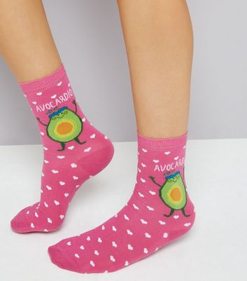 Pink Heat and Avocadio Print Socks New Look