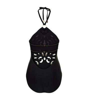 Black Stud Embellished Cut Out Swimsuit New Look