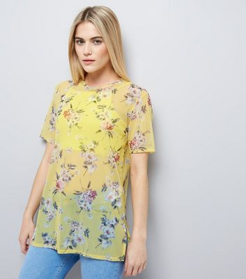 Yellow Floral Print Mesh T-Shirt New Look
