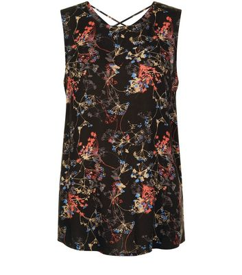 JDY Black Floral Print Cross Strap Sleeveless Top New Look
