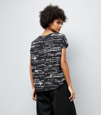 JDY Black Abstract Print Longline T-Shirt New Look