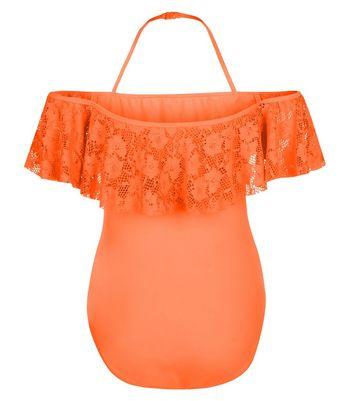 Teens Orange Bardot Neck Swimsuit New Look