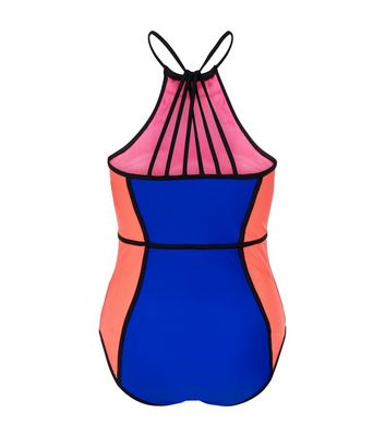 Teens Blue Colour Block Swimsuit New Look
