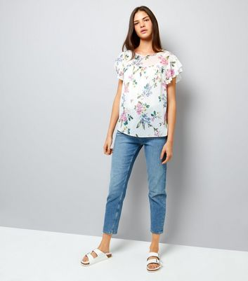 White Floral Print Layered Frill Sleeve Top New Look